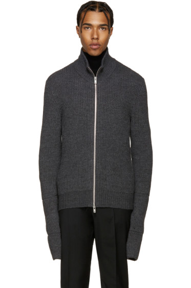 Maison Margiela - Grey Zip-Up Sweater