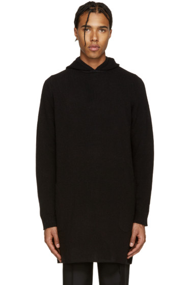 Maison Margiela - Black Long Wool Hoodie