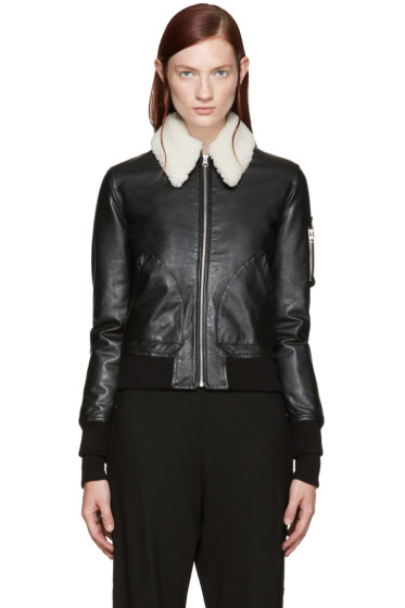 MM6 Maison Margiela - Black Shearling Collar Bomber Jacket