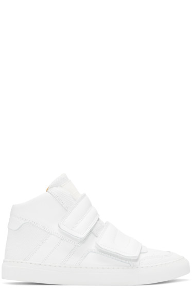 MM6 Maison Margiela - White Leather High-Top Sneakers