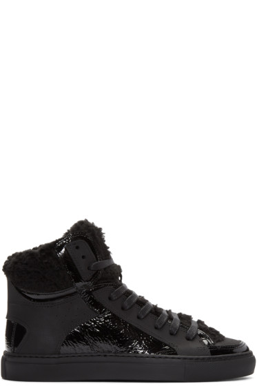MM6 Maison Margiela - Black Faux-Shearling High-Top Sneakers