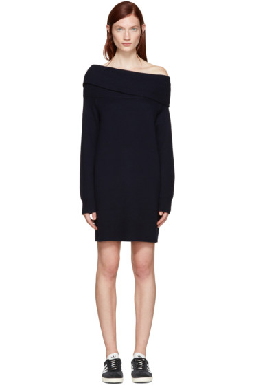 T by Alexander Wang - Navy Wool Off-the-Shoulder Dress