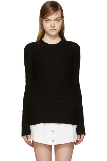 T by Alexander Wang - Black Waffle Knit Sweater