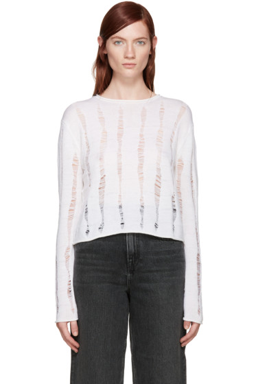 T by Alexander Wang - Ivory Dropped Needle Sweater