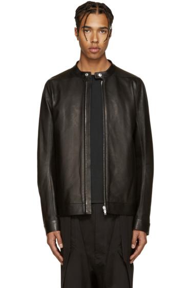 Rick Owens - Black Leather Windbreaker Jacket