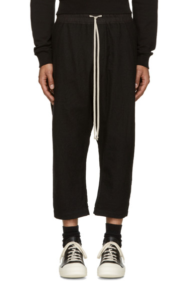 Rick Owens - Black Wool Cropped Lounge Pants