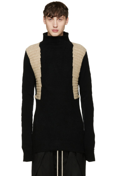Rick Owens - Black & Beige Textured Turtleneck