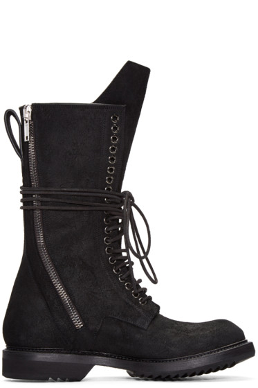 Rick Owens - Black DB Zip Lace-Up Boots