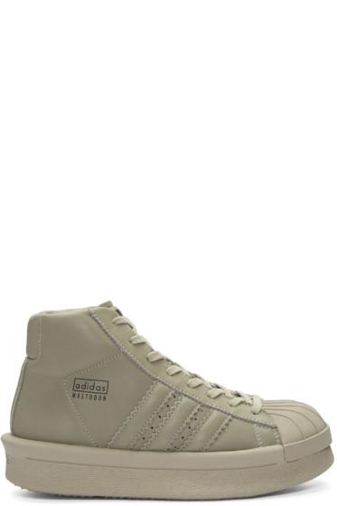 Rick Owens - Taupel adidas Edition Mastodon Pro Mode High-Top Sneakers
