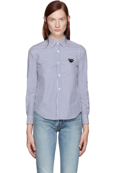Comme des Garçons Play - Blue & White Striped Heart Shirt