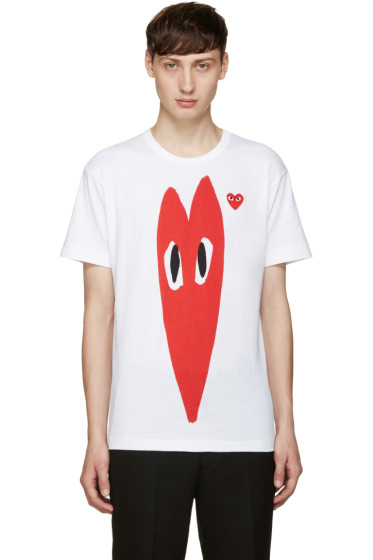 Comme des Garçons Play - White Stretch Heart T-Shirt