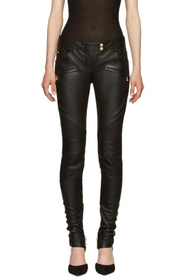 Balmain - Black Leather Biker Pants