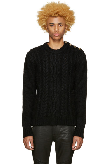 Balmain - Black Mohair Sweater