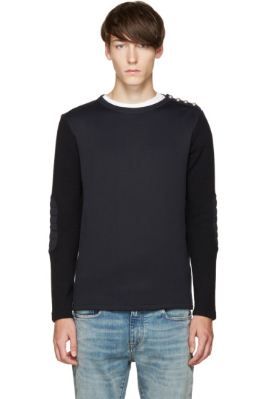 Balmain - Navy Biker Patch Pullover