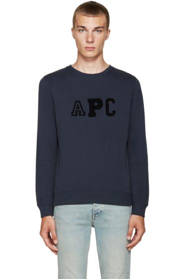 A.P.C. - Navy College Sweatshirt