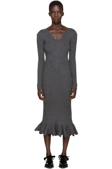 Lanvin - Grey Wool Frill Dress