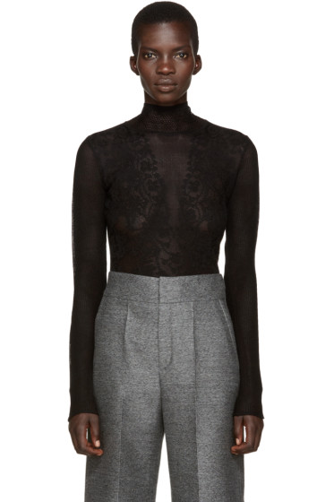 Lanvin - Black Stretch Lace Top