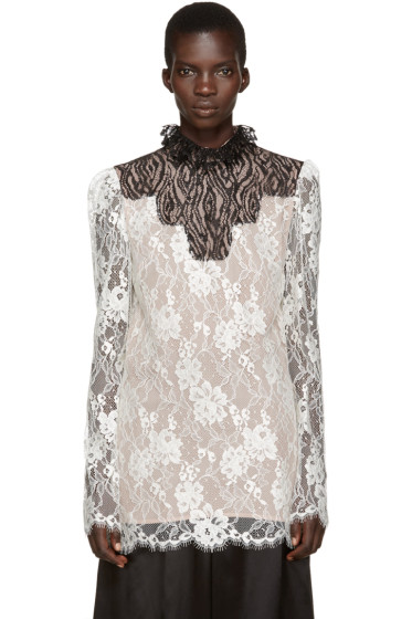 Lanvin - Ivory Lace Stand Collar Blouse