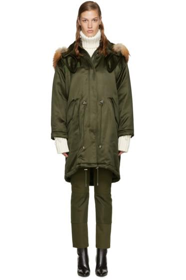 Alexander McQueen - Green Fur-Trimmed Parka