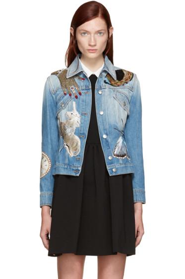 Alexander McQueen - Blue Embellished Denim Jacket