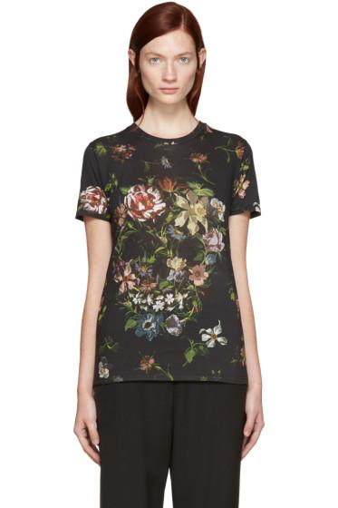 Alexander McQueen - Black Floral Skull T-Shirt