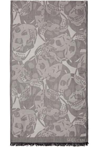 Alexander McQueen - Grey Camo Skull Scarf
