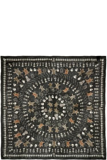 Alexander McQueen - Black Voodoo Print Scarf