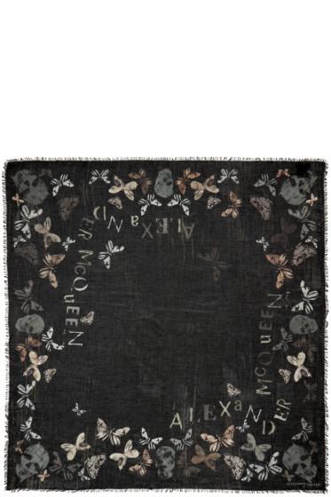 Alexander McQueen - Black Skulls & Butterflies Print Scarf
