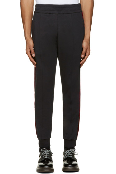 Alexander McQueen - Black Velvet Trim Lounge Pants