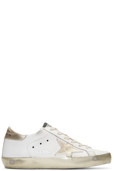 Golden Goose - White & Gold Sparkle Superstar Sneakers