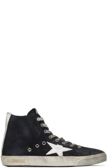Golden Goose - Navy Suede Francy High-Top Sneakers