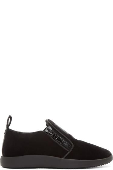 Giuseppe Zanotti - Black Velvet Slip-On Sneakers