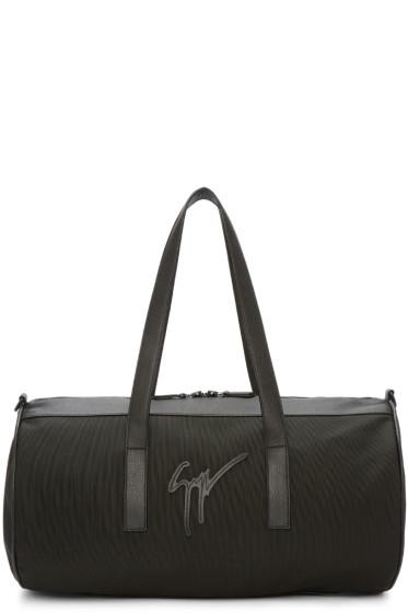 Giuseppe Zanotti - Black Canvas & Leather Duffle Bag
