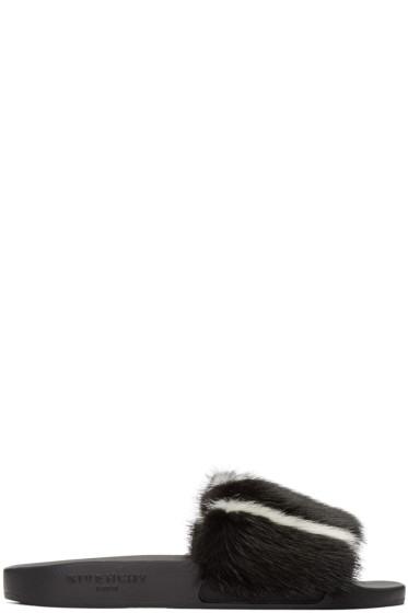 Givenchy - Black & White Mink Slip-On Sandals