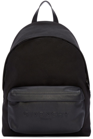 Givenchy - Black Canvas & Leather Backpack