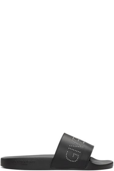 Givenchy - Black Studded Logo Sandals