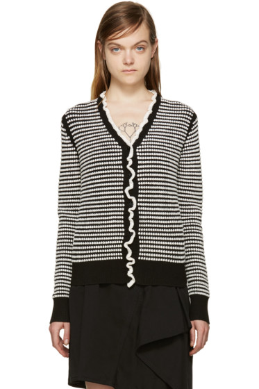 3.1 Phillip Lim - Black & White Ruffled Cardigan