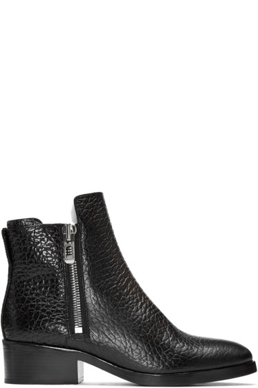 3.1 Phillip Lim - Black Croc-Embossed Shearling Alexa Boots