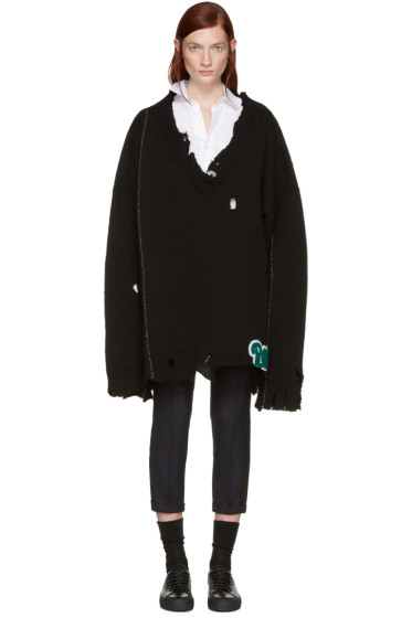 Raf Simons - Black Oversized Destroyed Sweater