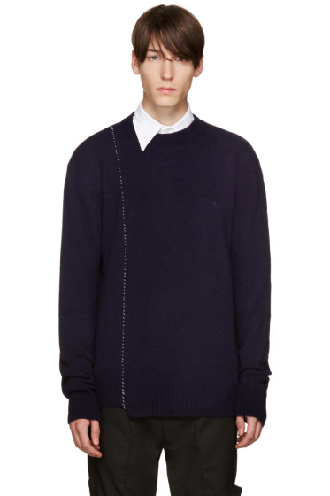 Raf Simons - Navy Wool Stitched Sweater