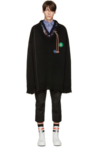 Raf Simons - Black Oversized Destroyed Patches Sweater