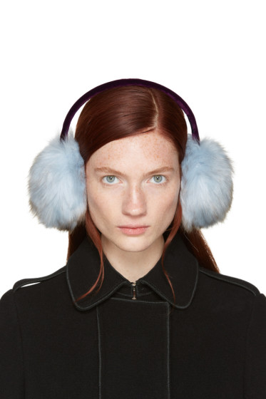 Carven - Blue Faux-fur Ear Muffs