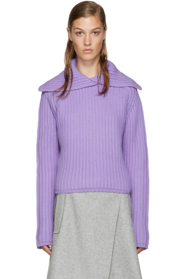 Carven - Purple Vented Collar Sweater