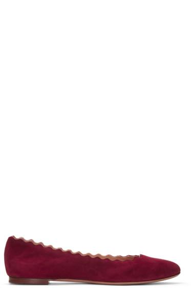Chloé - Red Suede Lauren Ballerina Flats