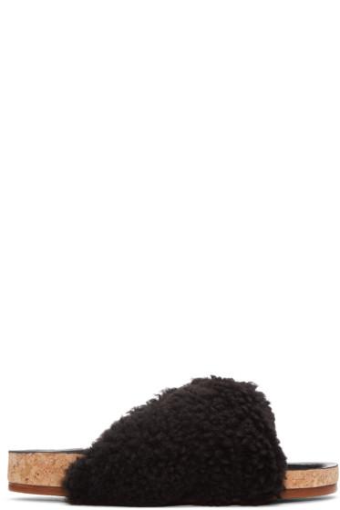 Chloé - Black Shearling Kerenn Sandals