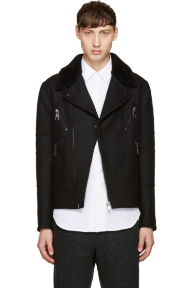 Neil Barrett - Black Shearling Biker Jacket