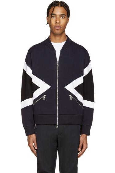 Neil Barrett - Blue Modernist Bomber Zip-Up Sweater