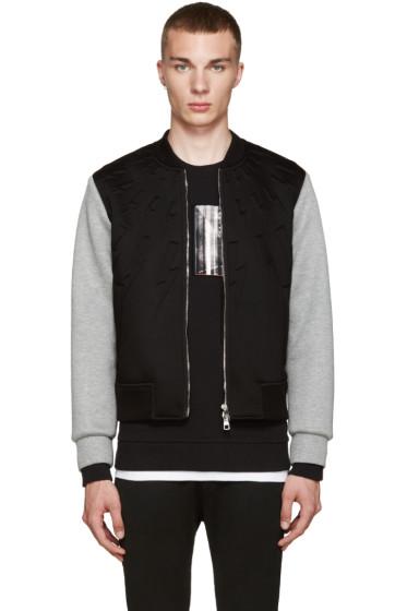 Neil Barrett - Black & Grey Thunderbolt Zip-Up Sweater