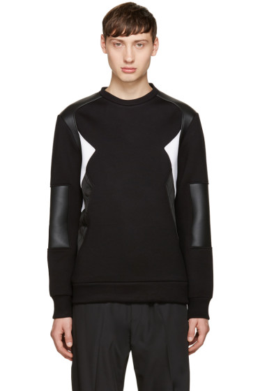 Neil Barrett - Black Mixed Textures Modernist Pullover