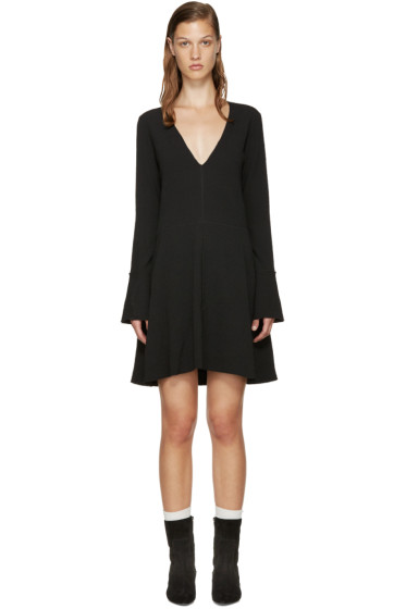 See by Chloé - Black Textured V-Neck Dress